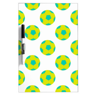 Yellow and Light Blue Soccer Ball Pattern Dry Erase Board