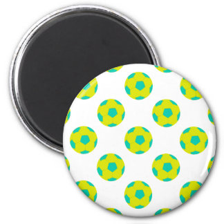 Yellow and Light Blue Soccer Ball Pattern Refrigerator Magnet