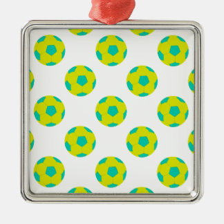 Yellow and Light Blue Soccer Ball Pattern Metal Ornament