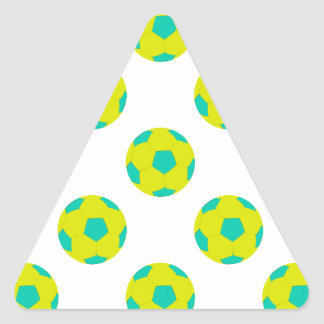 Yellow and Light Blue Soccer Ball Pattern Triangle Sticker