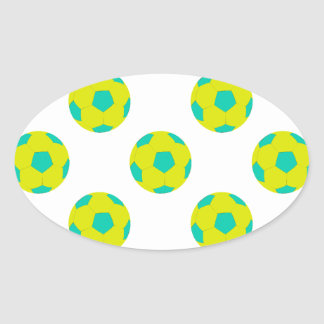 Yellow and Light Blue Soccer Ball Pattern Oval Sticker