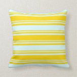 [ Thumbnail: Yellow and Light Cyan Lined/Striped Pattern Pillow ]
