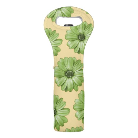 Yellow and Light Green Tropical Floral Print Wine Bag