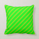 [ Thumbnail: Yellow and Lime Colored Lines Pattern Throw Pillow ]