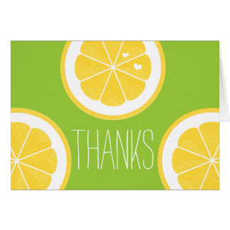 YELLOW AND LIME GREEN LEMON HEART SEED THANK YOU GREETING CARD