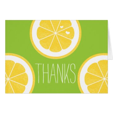 Valentines Themed YELLOW AND LIME GREEN LEMON HEART SEED THANK YOU CARD