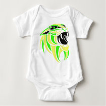 Yellow and Lt Green Tiger Head Baby Bodysuit
