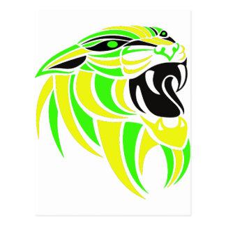 Yellow and Lt Green Tiger Head Postcard