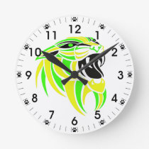 Yellow and Lt Green Tiger Head Round Clock