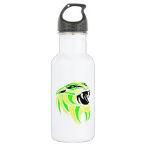 Yellow and Lt Green Tiger Head Water Bottle