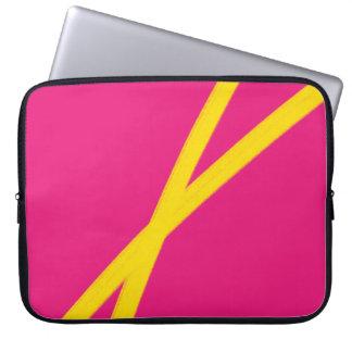 Yellow and magenta minimal abstract art laptop sleeve