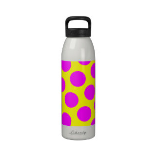 Yellow and Magenta Polka Dots Water Bottles