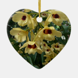 Yellow and Maroon Orchids Ceramic Ornament