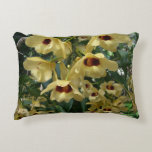 Yellow and Maroon Orchids Elegant Floral Photo Decorative Pillow