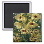 Yellow and Maroon Orchids Elegant Floral Photo Magnet