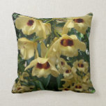 Yellow and Maroon Orchids Elegant Floral Photo Throw Pillow