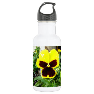 Yellow And Maroon Pansy 18oz Water Bottle