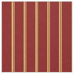 [ Thumbnail: Yellow and Maroon Pattern of Stripes Fabric ]