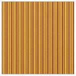 [ Thumbnail: Yellow and Maroon Striped Pattern Fabric ]