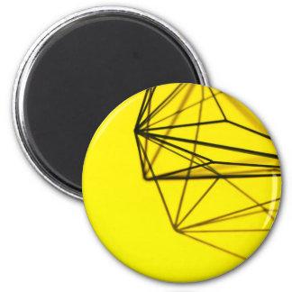 Yellow and Metal Geometric Design Magnet