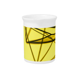 Yellow and Metal Geometric Design Pitcher