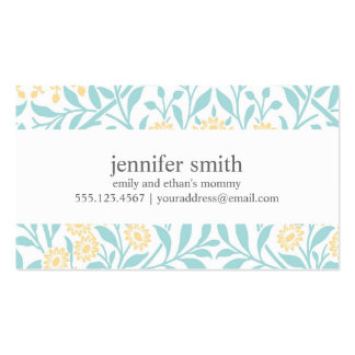 Yellow and Mint Floral Damask Pattern Double-Sided Standard Business Cards (Pack Of 100)