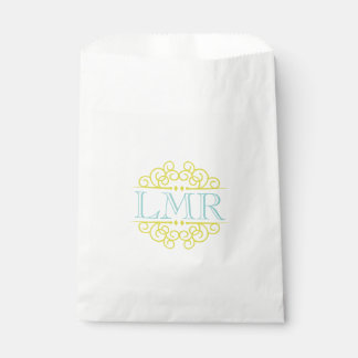 Yellow and Mint Green Vintage Frame Monogram Favor Bags