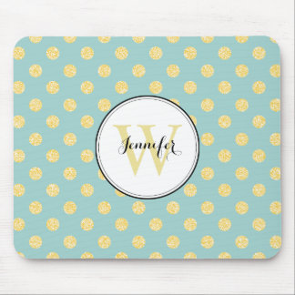 Yellow and Mint Polka Dots Pattern Monogram Mouse Pad
