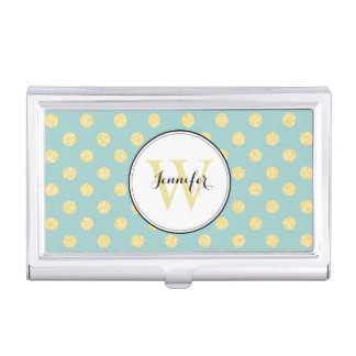 Yellow and Mint Polka Dots Pattern Monogrammed Business Card Case