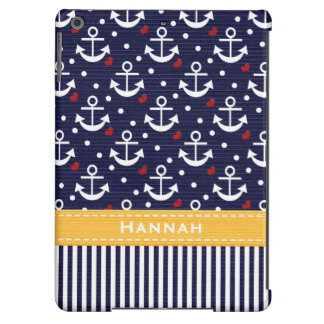 Yellow and Navy Anchor iPad Air Cover