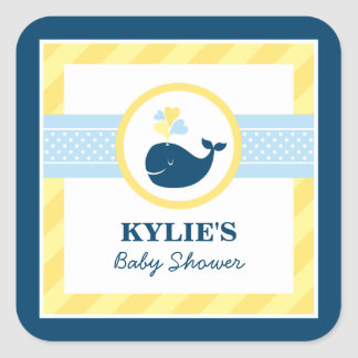 Yellow and Navy Baby Shower | Nautical Whale Square Sticker