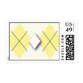 Yellow and navy blue Argyle Postage