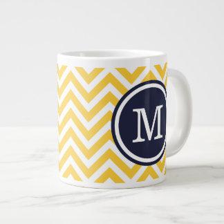 Yellow and Navy Blue Chevron Custom Monogram Giant Coffee Mug