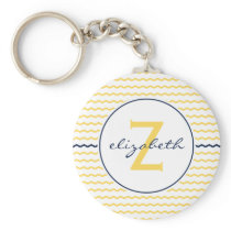 Yellow and Navy Blue Chevron Monogram Keychain
