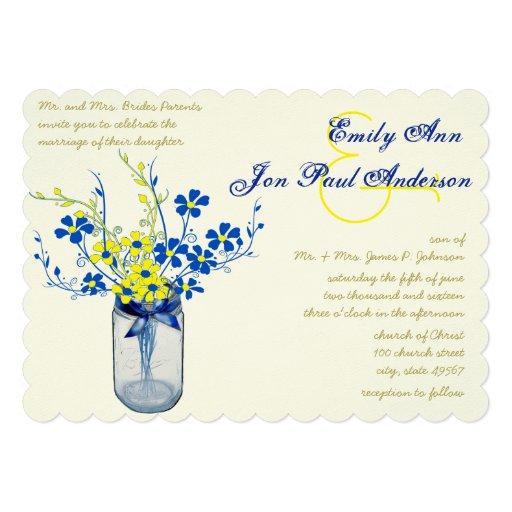 Yellow And Navy Blue Mason Jar Wild Flower Wedding 5x7
