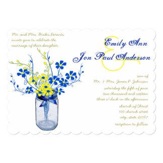 Yellow and Navy Blue Mason Jar Wild Flower Wedding 5x7 Paper Invitation Card