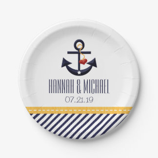 Yellow and Navy Blue Nautical Anchor Wedding Paper Plate