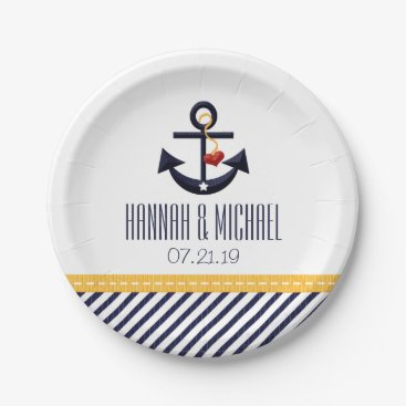 Beach Themed Yellow and Navy Blue Nautical Anchor Wedding Paper Plate