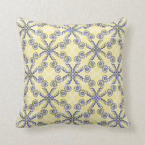 Yellow and Navy Blue Scrollwork Pattern Pillow