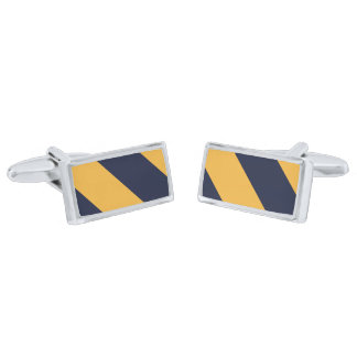 Yellow and Navy Blue Stripes Cufflinks