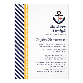 Yellow and Navy Nautical Bridal Shower Invitations