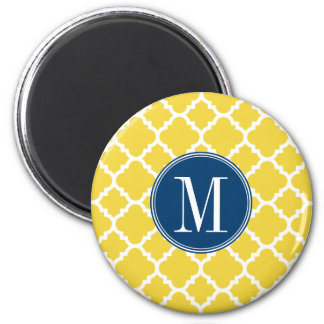 Yellow and Navy Quatrefoil Pattern Custom Monogram 2 Inch Round Magnet