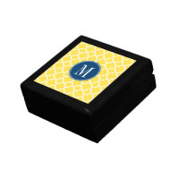 Yellow and Navy Quatrefoil Pattern Custom Monogram Jewelry Box
