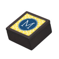 Yellow and Navy Quatrefoil Pattern Custom Monogram Keepsake Box