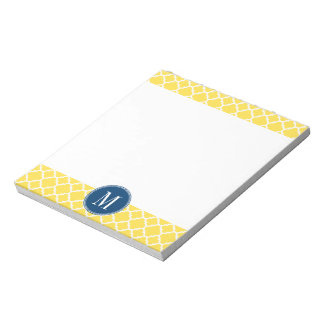 Yellow and Navy Quatrefoil Pattern Custom Monogram Notepad