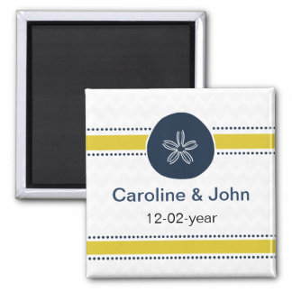 Yellow and Navy Sand Dollar Beach Wedding Design 2 Inch Square Magnet