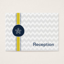 Yellow and Navy Sand Dollar Beach Wedding Design Business Card