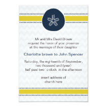 Yellow and Navy Sand Dollar Beach Wedding Design Card