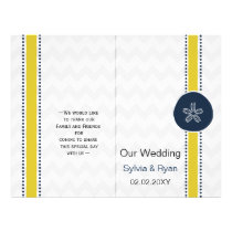 Yellow and Navy Sand Dollar Beach Wedding Design Flyer