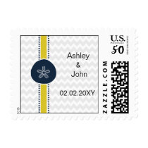 Yellow and Navy Sand Dollar Beach Wedding Design Postage